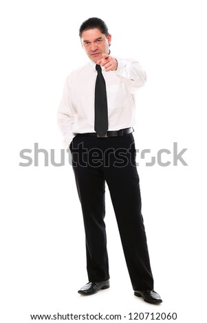 Serious mid aged businessman pointing on you over a white background - stock photo