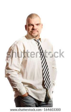 serious middle age man on a white background