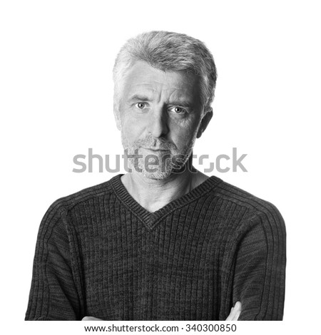 serious  older gray-haired man  looking  grey eyes black and white - stock photo