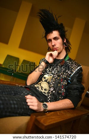 Serious punk rocker - stock photo
