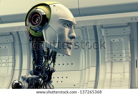 Serious robot in profile on the space ship / Cyborg - stock photo