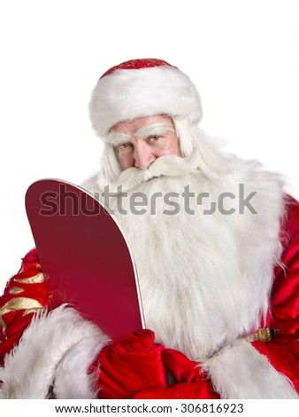 Serious Santa Claus is embracing the snowboard