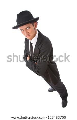 serious secret agent portrait on white background - stock photo
