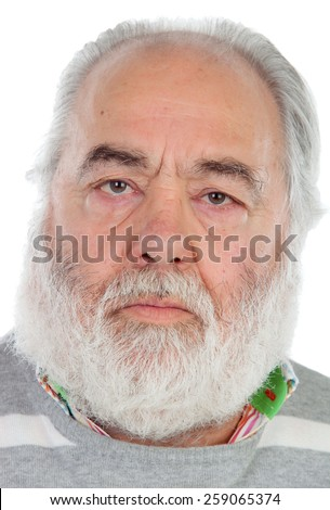 Serious senior man with white beard isolated on background - stock photo