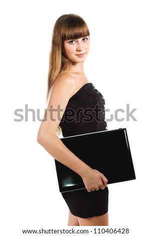 serious teenager girl with lap top isolated on white background - stock photo