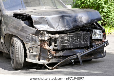Serious traffic accident with car front collision