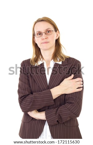Serious woman in management thinking about solution - stock photo