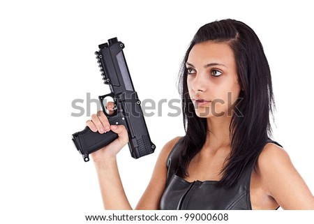 Serious woman is aiming a handgun, isolated on white