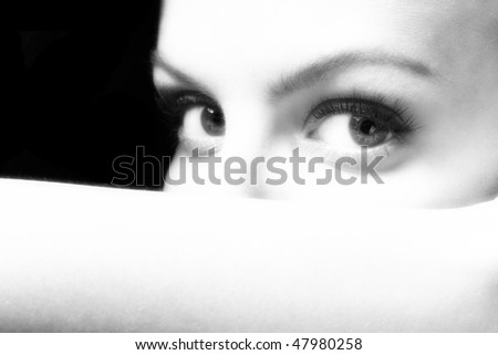 Serious  woman looking at the camera - stock photo