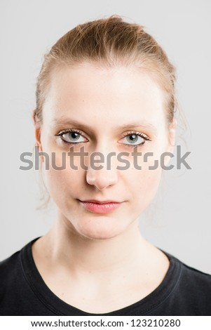 serious woman portrait real people high definition grey background