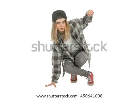 serious young blonde in casual clothes looking at the camera isolated on white background