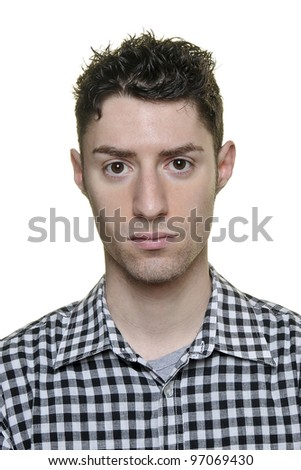 Serious young man on white background - stock photo
