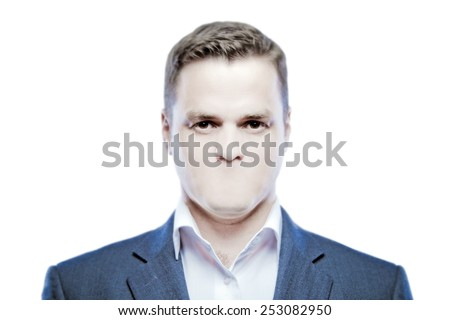 Serious young man without a mouth on a white background  - stock photo