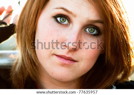 serious young woman - stock photo