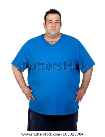 Seriously fat man isolated on white background - stock photo