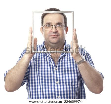 seriously nerd man - stock photo