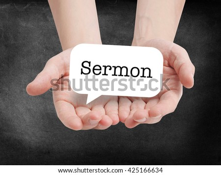 Sermon written on a speechbubble