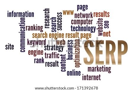 SERP  in word collage - stock photo