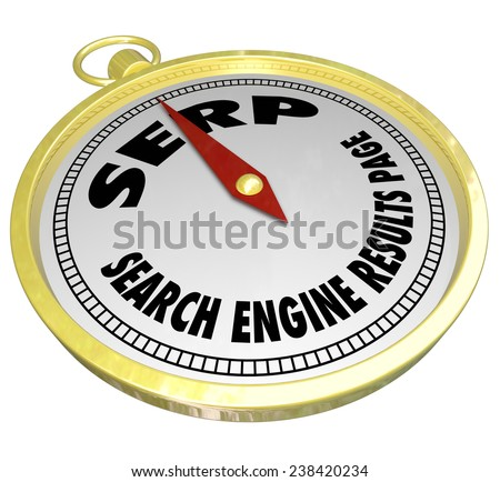 SERP words or acronym on a golden compass and words Search Engine Results Page to illustrate optimization of your website to place higher in searches - stock photo