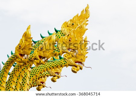 serpent king or king of naga statue in thai temple.They are public domain or treasure of Buddhism, no restrict in copy or use