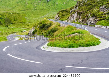 Serpentine in the Alps. Famous road to Oberalppas, Switzerland - stock photo