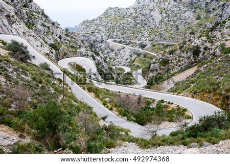 Serpentine road direction sa calobra, majorca