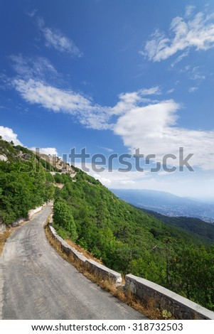 serpentine road / road to the summit of Ai-Petri Summer bright colors