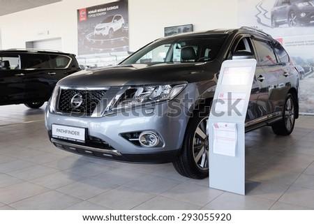 Serpuhov, Russia, June, 2015: Cars in a dealer's showroom in Serpuhov, Russia - stock photo