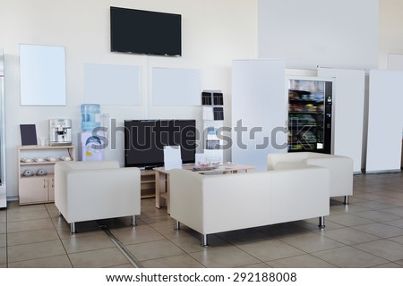 Serpuhov, Russia, June, 2015: rest spot of clients in a dealer's showroom in Serpuhov, Russia - stock photo