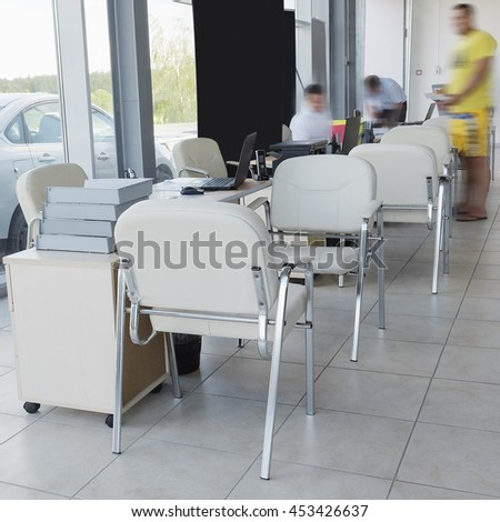 Serpuhov, Russia, June, 2015: Working place of managers in a dealer's car showroom in Serpuhov, Russia