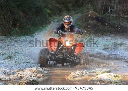 SERTÃ, PORTUGAL - JANUARY 29: An unknown driver/team participating in TT Tour 2012 - Discovery of Mud, organized by Trails of Zezere Club in Sertã, Portugal on January 29, 2012. - stock photo