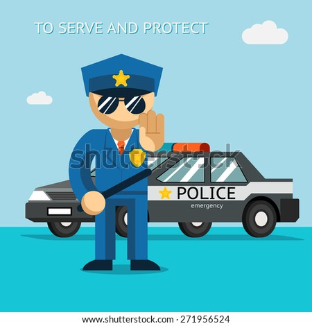 Serve and protect. Police officer stands in front of police car. Security male, car and officer, cop man - stock photo