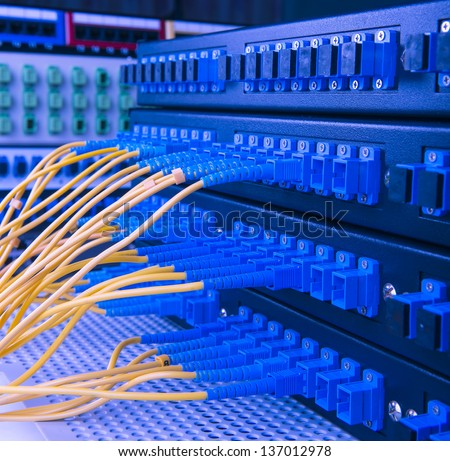 serve with technology style against fiber optic background - stock photo