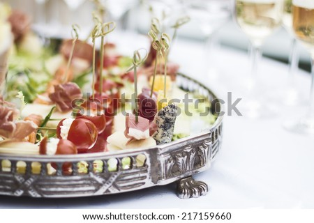 served banquet table, canapes