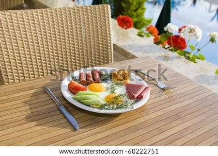 Served breakfast - stock photo