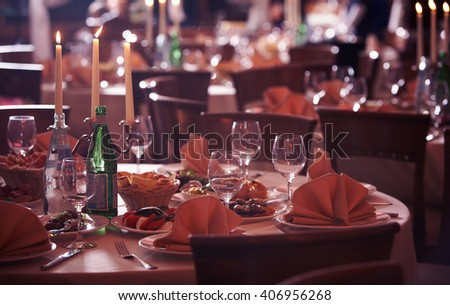 Served celebrated table with wine glases.