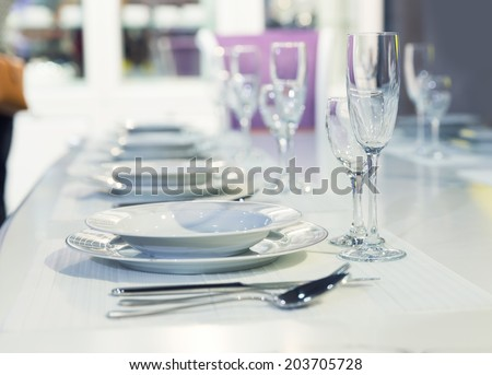 Served fashion table in white colors - stock photo