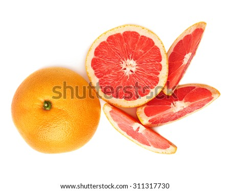 Served fresh grapefruit composition isolated over the white background, top view