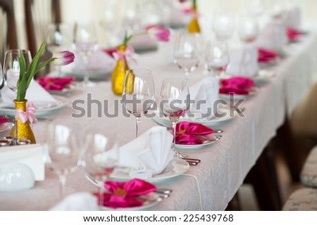 Served restaurant table