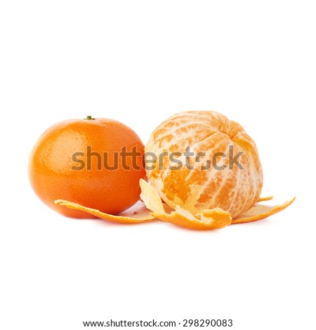 Served ripe juicy two tangerines fruit composition isolated over the white background, peeled and unpeeled