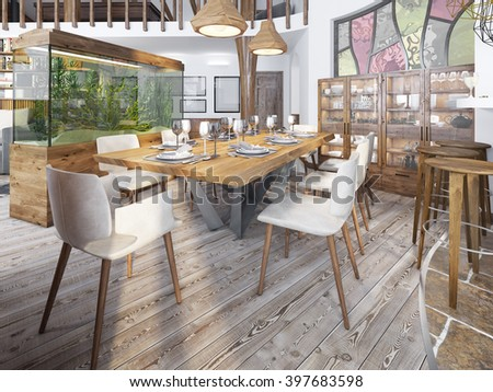 Served table for eight in the dining room in the loft with high ceilings. Diner with a large aquarium on a high pedestal. 3D render. - stock photo