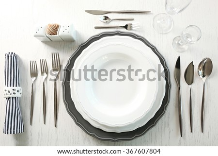 Served table in restaurant, closeup