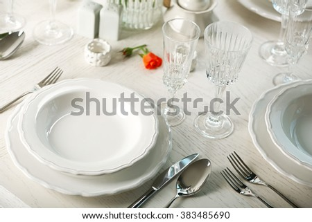 Served table in restaurant, closeup - stock photo