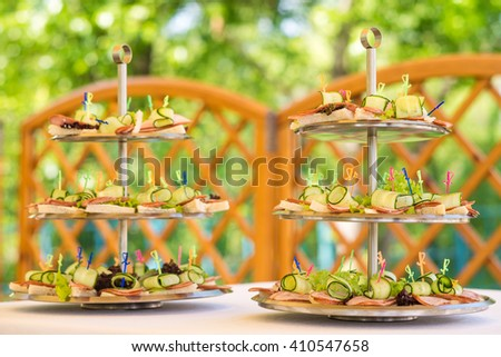 served table outdoor - stock photo