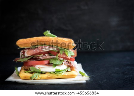 Served waffle sandwiches on the table,selective focus and empty space - stock photo
