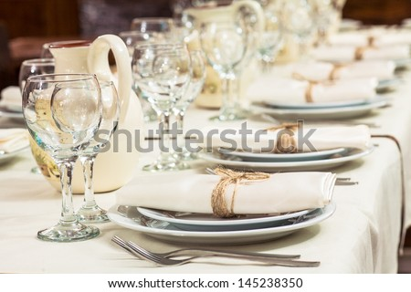 Served with a plate on the table - stock photo
