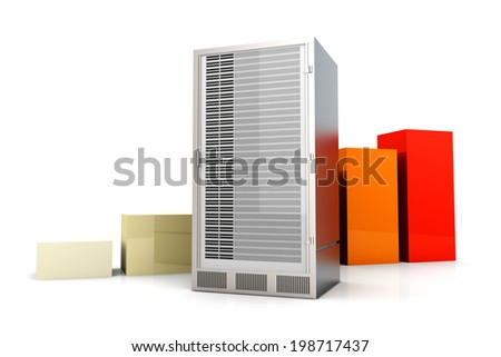 Server and bandwidth statistics. 3D rendered Illustration. Isolated on white.