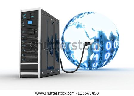 Server and binnary world (done in 3d) - stock photo