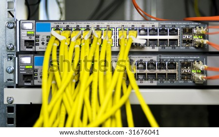 Server configuration connecting web servers to the internet - stock photo