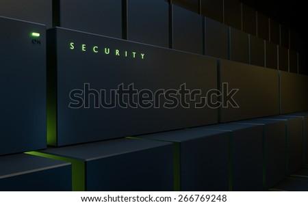 Server 3d illustration security - stock photo